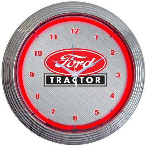 Retro FORD TRACTOR NEON CLOCK 15 x 15 Inches