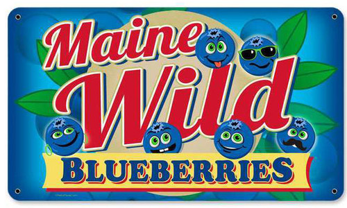 Retro Wild Blueberries Metal Sign 14 x 8 Inches