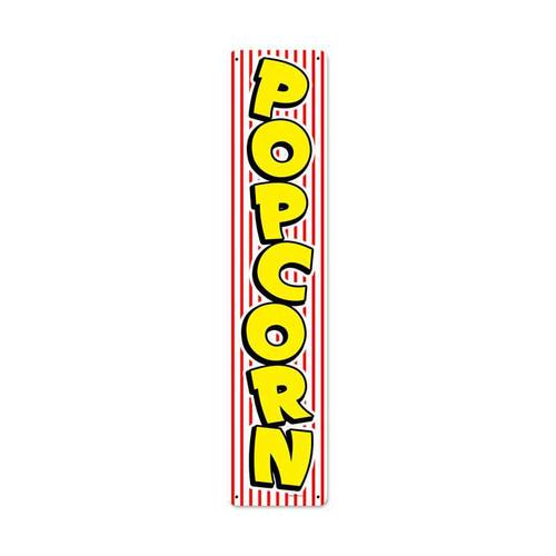 Retro Popcorn Stripe Metal Sign 28 x 6 Inches