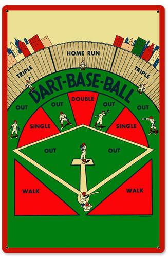 Retro Dart Baseball Metal Sign 12 x 18 Inches