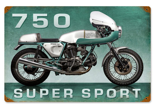 Retro Super Sport Metal Sign 18 x 12 Inches