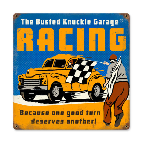 Retro Racing Tin Sign  12 x 12 Inches