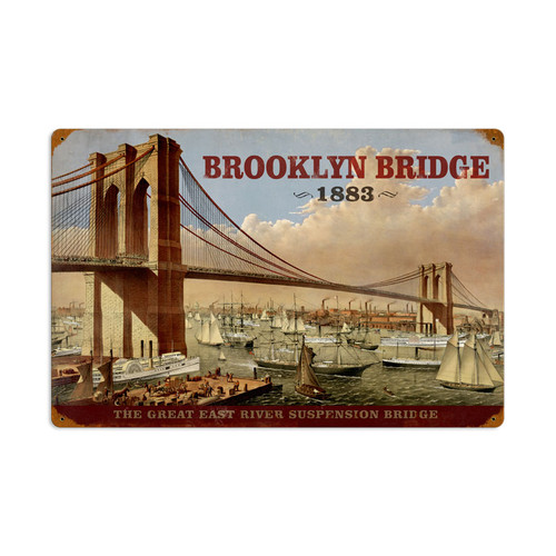 Retro Brooklyn Bridge Metal Sign  24 x 16 Inches