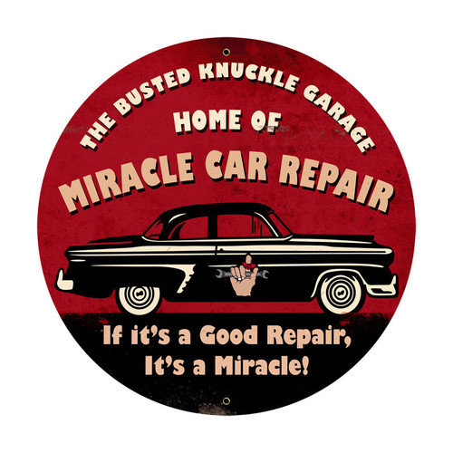 Retro Miracle Car Repair Round Metal Sign  28 x 28 Inches