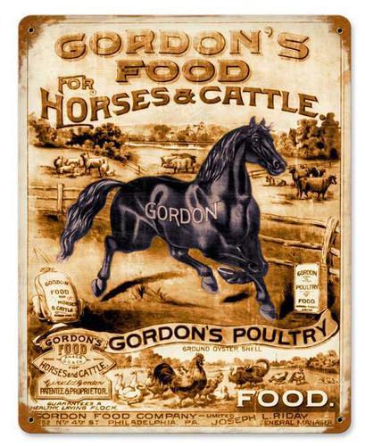 Retro Gordons Feed Metal Sign  12 x 15 Inches