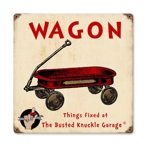 Retro Kids Wagon Metal Sign  12 x 12 Inches