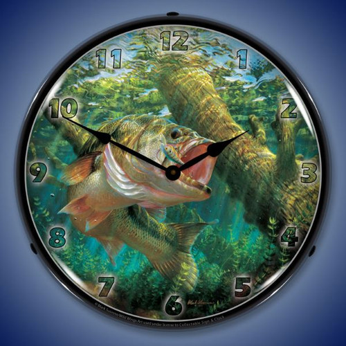 Fishing the Wood Largempouth Bass Lighted Wall Clock
