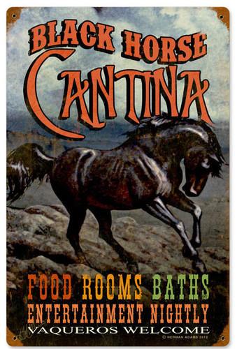 Retro Black Horse Cantina Metal Sign 12 x 18 Inches
