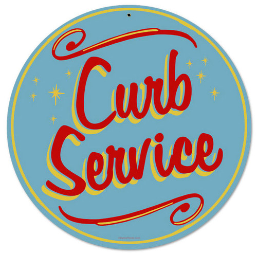 Retro Curb Service Round Metal Sign 14 x 14 Inches