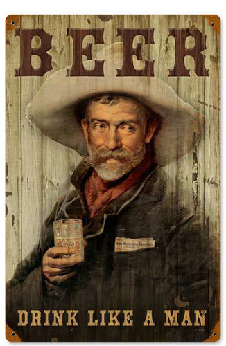 Retro Cowboy Beer Metal Sign 12 x 18 Inches