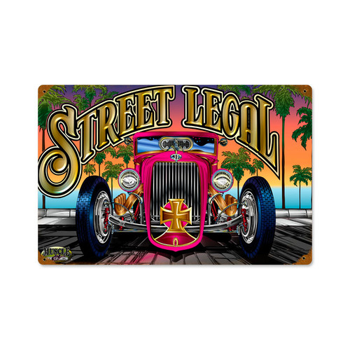 Retro Street Legal Vintage Metal Sign 18 x 12 Inches