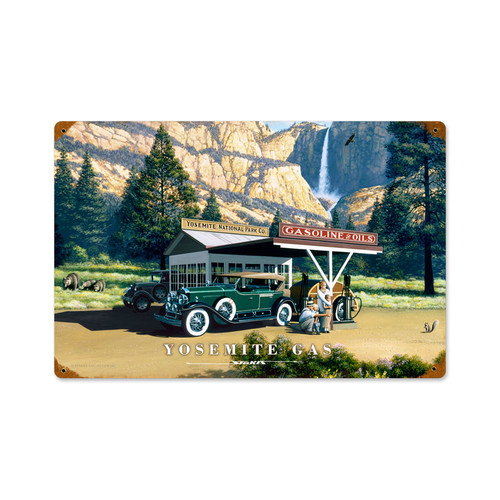 Retro Yosemite Gas Vintage Metal Sign 12 x 18 Inches