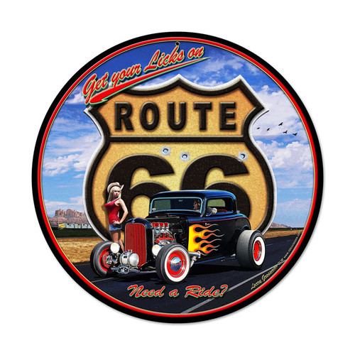 Retro Get Your Licks Round Metal Sign 14 x 14 Inches