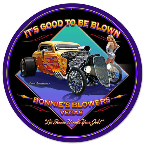 Retro Blown Round Metal Sign 14 x 14 Inches