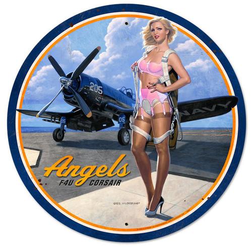 Retro Angels Corsair Round Metal Sign
