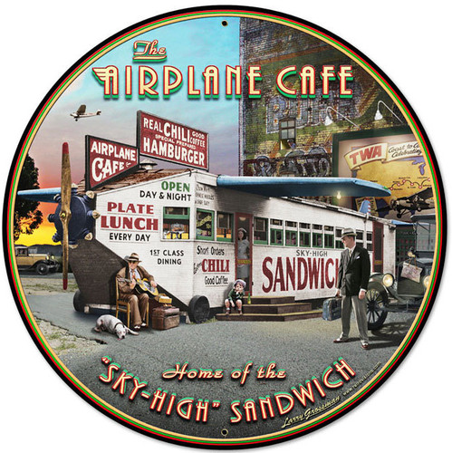 Retro Airplane Cafe Round Metal Sign 28 x 28 Inches