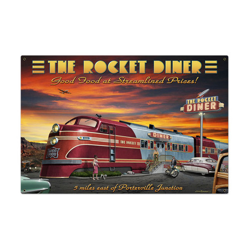 Retro Rocket Diner Metal Sign 36 x 24 Inches