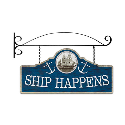 Retro Ship Happens Double Sided  with Wall Mount Sign 26 x 12 Inches
