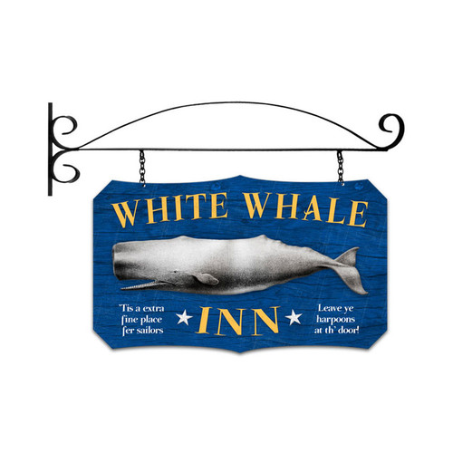 Retro White Whale Inn Double Sided  with Wall Mount Sign 17 x 11 Inches