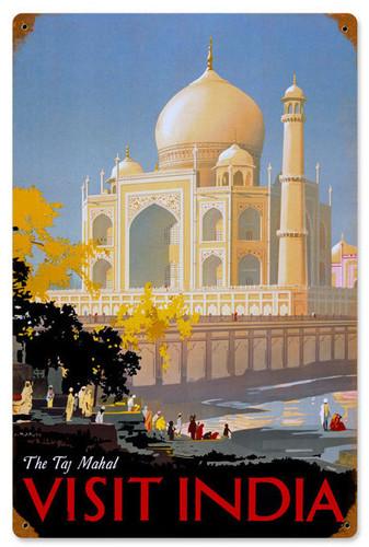 Retro Taj Mahal  Metal Sign 12 x 18 Inches
