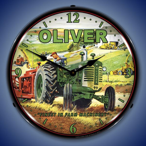 Retro Oliver Tractor Lighted Wall Clock