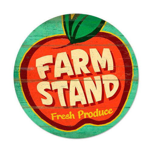 Retro Farm Stand Round Metal Sign 14 x 14 Inches