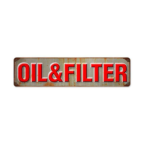 Retro Oil and Filter Metal Sign 20 x 5 Inches