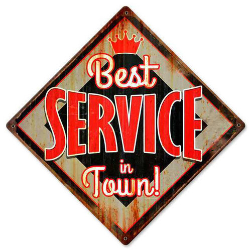 Retro Best Service Metal Sign 12 x 12 Inches