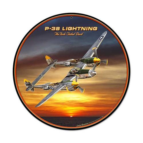 Retro P38 Round Metal Sign 14 x 14 Inches