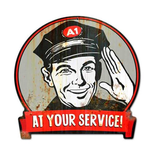Retro Service Man Round Banner Metal Sign 15 x 16 Inches