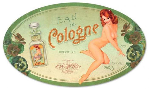 Vintage-Retro Cologne Pinup Oval - Pin-Up Girl Metal Sign -
