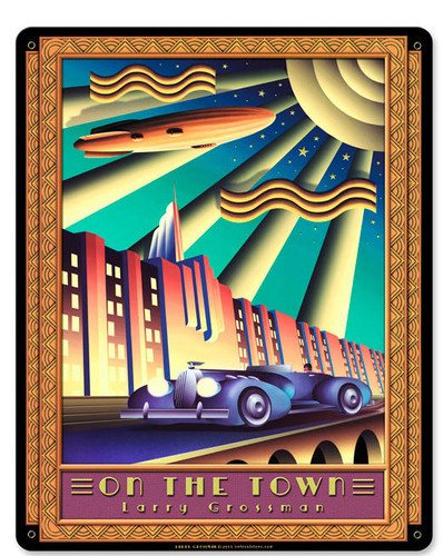 On the Town Metal Sign 12 x 15 Inches