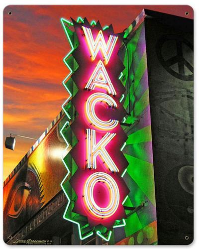 WACKO METAL SIGN 12 X 15 INCHES