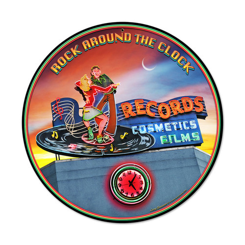 Rock Around the Clock Round Metal Sign 14 x 14 Inches