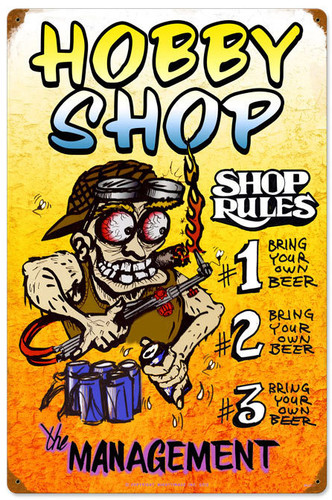 Hobby Shop Rules Vintage Metal Sign 16 x 24 Inches