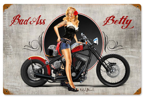 Bad Ass Betty Vintage Metal Sign 18 x 12 Inches