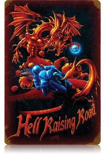 Vintage-Retro Hell Raising Road Metal-Tin Sign