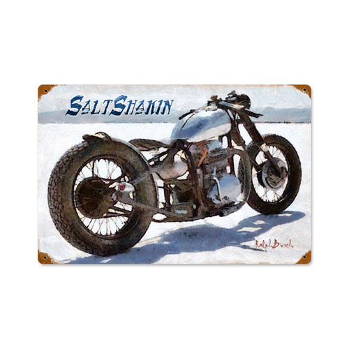 Salt Shakin Motorcycle Vintage Metal Sign  18 x 12 Inches