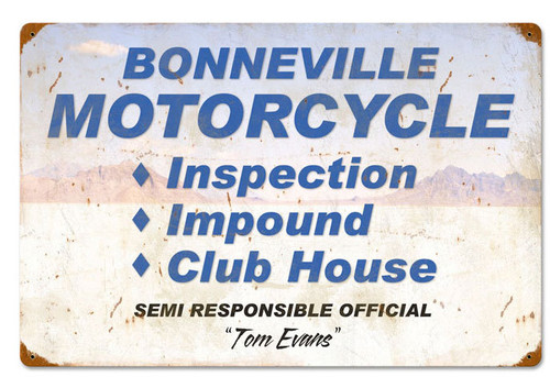 Bonneville Motorcycle Inspection Vintage Metal Sign 24 x 16 Inches