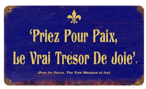 Pray For Peace Vintage Metal Sign   8 x 14 Inches
