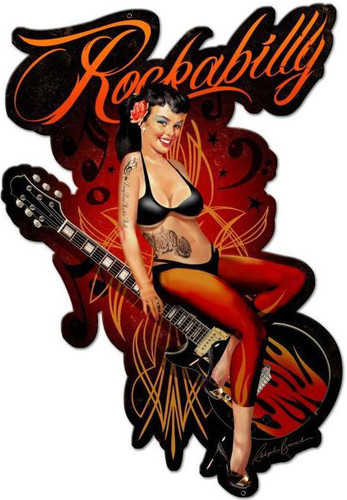 Rockabilly Custom Shape Metal Sign 16 x 24 Inches