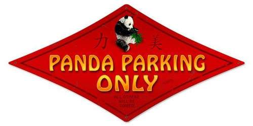 Vintage-Retro Panda Parking Diamond Metal-Tin Sign