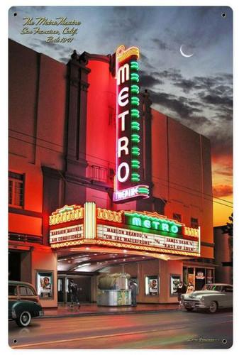 Metro Theatre Metal Sign 12 x 18 Inches