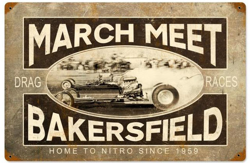 March Meet  Vintage Metal Sign 18 x 12 Inches