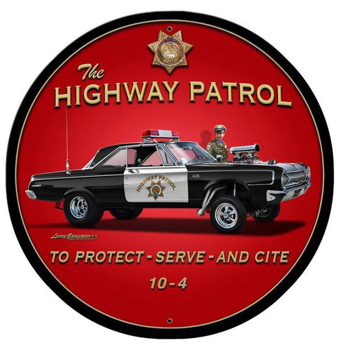 Highway Patrol Round Metal Sign 28 x 28 Inches