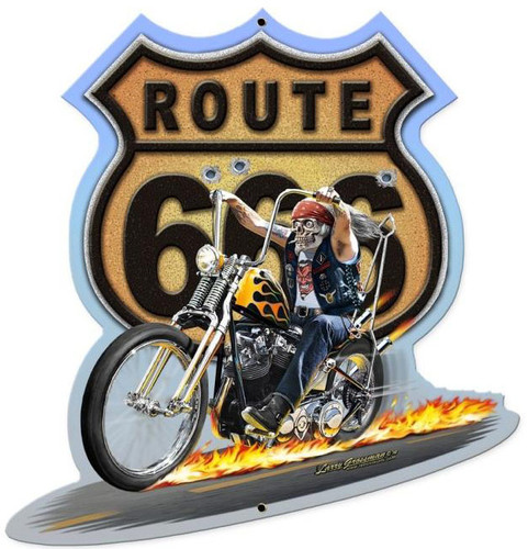 Route 666 Custom Shape Metal 11 x 12 Inches