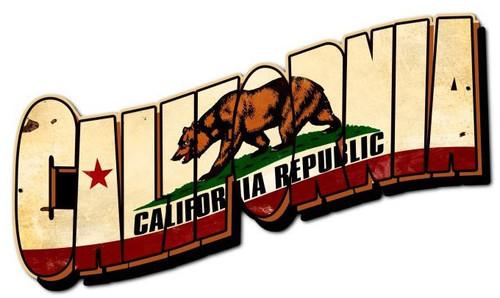 California Bear Flag Custom Metal Shape 28 x 15 Inches