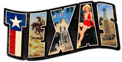 Texas Landmarks Custom Shape Metal  28 x 15 Inches