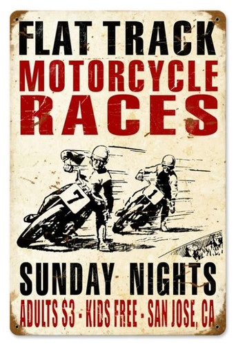 Vintage-Retro Motorcycle Races Metal-Tin Sign 1