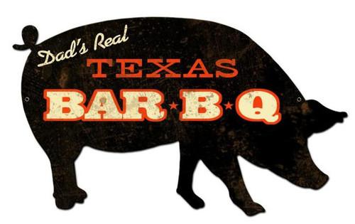Texas BBQ Pig Custom Shape Metal Sign 26 x 15 Inches